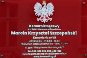 Zmiana adresu kancelarii - komornik sądowy w Zielonej Górze Marcin Szczepański