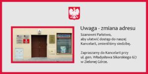 Zmiana adresu kancelarii - komornik sądowy w Zielonej Górze Marcin Sczepański